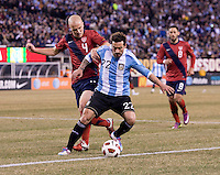 Ezequiel Lavezzi, Michael Bradley. The USMNT tied Argentina, 1-1, at the New Meadowlands Stadium in East Rutherford, NJ.