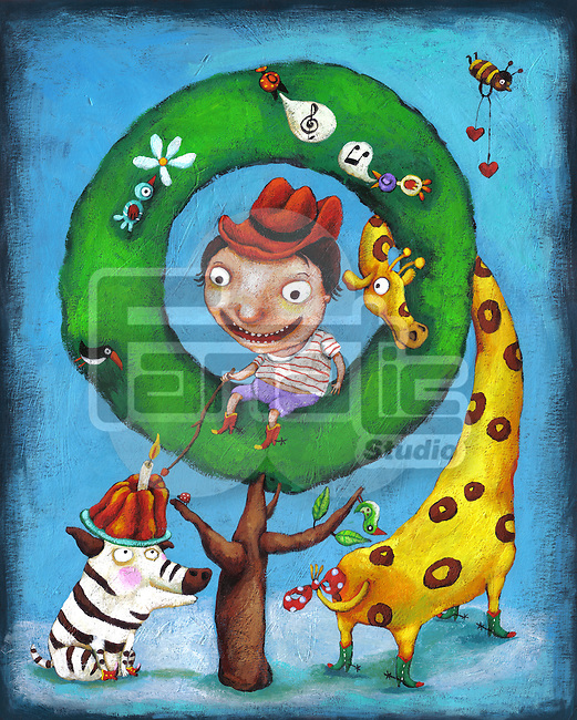 Illustration of boy sitting on tree with animals at zoo