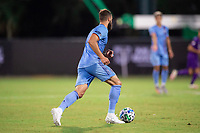 LAKE BUENA VISTA, FL - JULY 14: Maxime Chanot #4 of NYCFC dribbles the ball during a game between Orlando City SC and New York City FC at Wide World of Sports on July 14, 2020 in Lake Buena Vista, Florida.