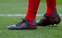 The personalised Under Armour football boot of Granit Xhaka of Arsenal (Bob is his best friend & Agon is his cousin who supports him whenever he can and is his role model) during the Premier League match between Chelsea and Arsenal at Stamford Bridge, London, England on 17 September 2017. Photo by Andy Rowland.