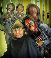 """Sharon got a Halloween haircut from her """"Zombie"""".   Too much fun?  No such thing as too much fun on Halloween."""