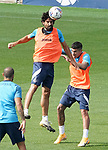 Getafe CF's Chema Rodriguez (l) and Mathias Olivera during training session. September 23, 2020.(ALTERPHOTOS/Acero)