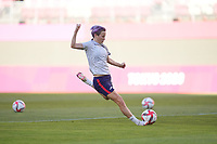 KASHIMA, JAPAN - AUGUST 4: Megan Rapinoe #15 of the United States before a game between Australia and USWNT at Kashima Soccer Stadium on August 4, 2021 in Kashima, Japan.