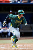 Brett Thomas #2 of the Oregon Ducks bats against the Cal State Fullerton Titans at Goodwin Field on March 3, 2013 in Fullerton, California. (Larry Goren/Four Seam Images)