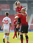 Leah Galton of Manchester United Women puts the ball in the net for the 3rd goal...cele with Ella Toone of Manchester United Women on top
