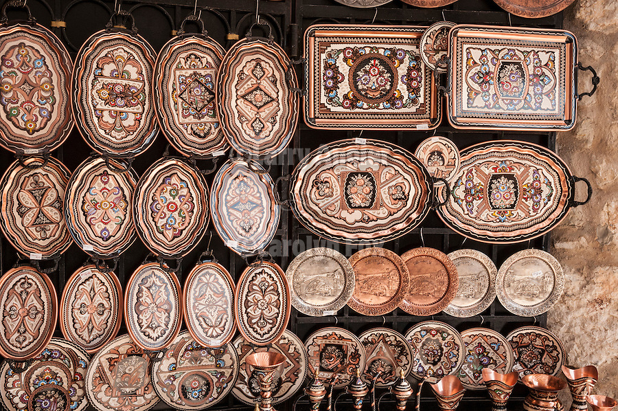 Hand-crafted copper trays in a shop, Mostar, Bosnia and Herzegovina