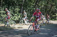 Alexander Kristoff (NOR/Katusha) checking for the team car to arrive to the back of the peloton while other take time for a 'nature break'<br /> <br /> 12th Eneco Tour 2016 (UCI World Tour)<br /> Stage 6: Riemst › Lanaken (185km)