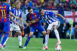 Sergio Busquets of FC Barcelona Christian Santos of Club Deportivo Alaves during the match of  Copa del Rey (King's Cup) Final between Deportivo Alaves and FC Barcelona at Vicente Calderon Stadium in Madrid, May 27, 2017. Spain.. (ALTERPHOTOS/Rodrigo Jimenez)