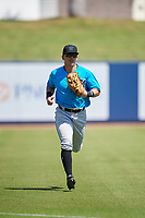 Miami Marlins left fielder Peyton Burdick (22) jogs to the dugout during an Instructional League game against the Washington Nationals on September 26, 2019 at FITTEAM Ballpark of The Palm Beaches in Palm Beach, Florida.  (Mike Janes/Four Seam Images)