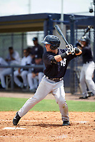GCL Yankees East second baseman Jose Carrera (2) at bat during the second game of a doubleheader against the GCL Yankees West on July 19, 2017 at the Yankees Minor League Complex in Tampa, Florida.  GCL Yankees West defeated the GCL Yankees East 3-1.  (Mike Janes/Four Seam Images)