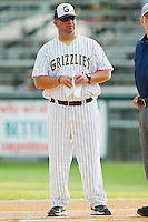 Gastonia Grizzlies manager Jason Plourde #44 prior to the game against the Thomasville HiToms at Sims Legion Park on June 2, 2011 in Gastonia, North Carolina.  The Hi-Toms defeated the Grizzlies 9-4.  Photo by Brian Westerholt / Four Seam Images