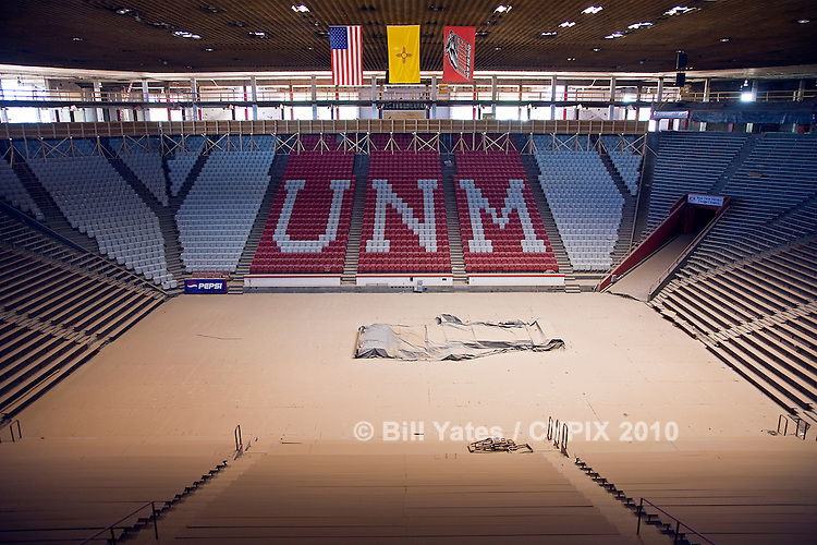 """""""The Pit"""" basketball arena University of New Mexico under renovation"""