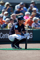 Detroit Tigers left fielder Mikie Mahtook (8) on deck during a Grapefruit League Spring Training game against the Atlanta Braves on March 2, 2019 at Publix Field at Joker Marchant Stadium in Lakeland, Florida.  Tigers defeated the Braves 7-4.  (Mike Janes/Four Seam Images)