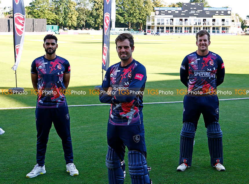 Kent's Scottish internationals Safyaan Sharif (L) Calum Macleod (C) and George Munsey (R) during Kent Spitfires vs Sussex Sharks, Vitality Blast T20 Cricket at The Spitfire Ground on 18th July 2021