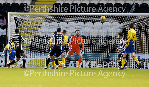 St Mirren v St Johnstone…19.12.20   St Mirren Park      SPFL<br />Ethan Erhahon scores for St Mirren<br />Picture by Graeme Hart.<br />Copyright Perthshire Picture Agency<br />Tel: 01738 623350  Mobile: 07990 594431