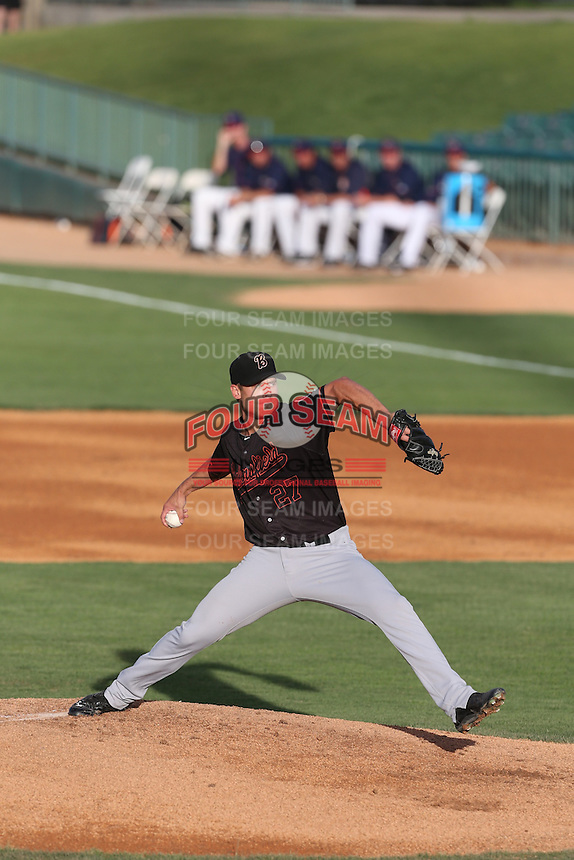 Brett Ash (27) of the Bakersfield Blaze pitches during a game against the Lancaster JetHawks at The Hanger on August 5, 2015 in Lancaster, California. Bakersfield defeated Lancaster, 12-5. (Larry Goren/Four Seam Images)