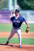 Boston Red Sox pitcher Greg Harris (27) during Spring Training 1993 at City of Palms Park in Fort Myers, Florida.  (MJA/Four Seam Images)