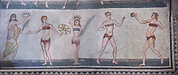 Panoramic pictures of the Roman mosaics of the room of the Ten Bikini Girls depicting Roman women in an athletic competition, room no 30, at the Villa Romana del Casale, first quarter of the 4th century AD. Sicily, Italy. A UNESCO World Heritage Site.
