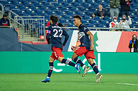 FOXBOROUGH, MA - MAY 1: Brandon Bye #15 of New England Revolution reacts to the second New England goal during a game between Atlanta United FC and New England Revolution at Gillette Stadium on May 1, 2021 in Foxborough, Massachusetts.
