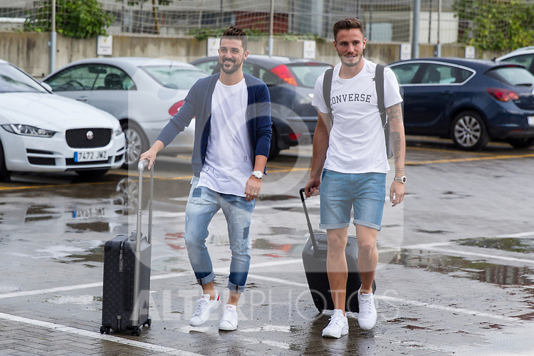 Spainsh David Villa and Saul Niguez arriving at the concentration of the spanish national football team in the city of football of Las Rozas in Madrid, Spain. August 28, 2017. (ALTERPHOTOS/Rodrigo Jimenez)