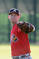 Pitcher David Peterson (35) of the Atlanta Braves farm system in a Minor League Spring Training workout on Tuesday, March 17, 2015, at the ESPN Wide World of Sports Complex in Lake Buena Vista, Florida. (Tom Priddy/Four Seam Images)