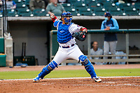 Tennessee Smokies catcher Miguel Amaya (30) on defense against the Montgomery Biscuits on May 8, 2021, at Smokies Stadium in Kodak, Tennessee. (Danny Parker/Four Seam Images)