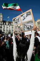 Demonstration in Oslo, Norway, following the election in Iran. A protest arranged by Amnesty International Norway was held in front of the Norwegian Parliament, before Iranian diaspora and others marched to the Iranian embassy to continue their protest. .©Fredrik Naumann/Felix Features.