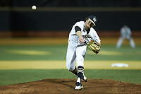 Wake Forest Demon Deacons starting pitcher Griffin Roberts (43) delivers a pitch to the plate against the Florida State Seminoles at David F. Couch Ballpark on March 9, 2018 in  Winston-Salem, North Carolina.  The Seminoles defeated the Demon Deacons 7-3.  (Brian Westerholt/Four Seam Images)