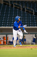 AZL Cubs left fielder Nelson Velazquez (20) bats during a game against the AZL Brewers on August 6, 2017 at Sloan Park in Mesa, Arizona. AZL Cubs defeated the AZL Brewers 8-7. (Zachary Lucy/Four Seam Images)
