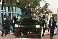 Abidjan, 7 août 2017 - 57e anniversaire de la Répubrique de Côte d'Ivoire - Alassane Ouattara Président de la Répubrique de Côte d'Ivoire dans le vehicul de commendement à la Présidence au plateau. # 57E FETE DE L'INDEPENDANCE DE LA COTE D'IVOIRE