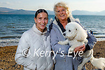 Enjoying a stroll in Fenit on Thursday, l to r: Mihaela and Kerry Lynch with Louis the dog.