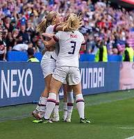 LE HAVRE,  - JUNE 20: Lindsey Horan #9 celebrates her goal with Kelley O'Hara #5, Rose Lavelle #16, and Sam Mewis during a game between Sweden and USWNT at Stade Oceane on June 20, 2019 in Le Havre, France.