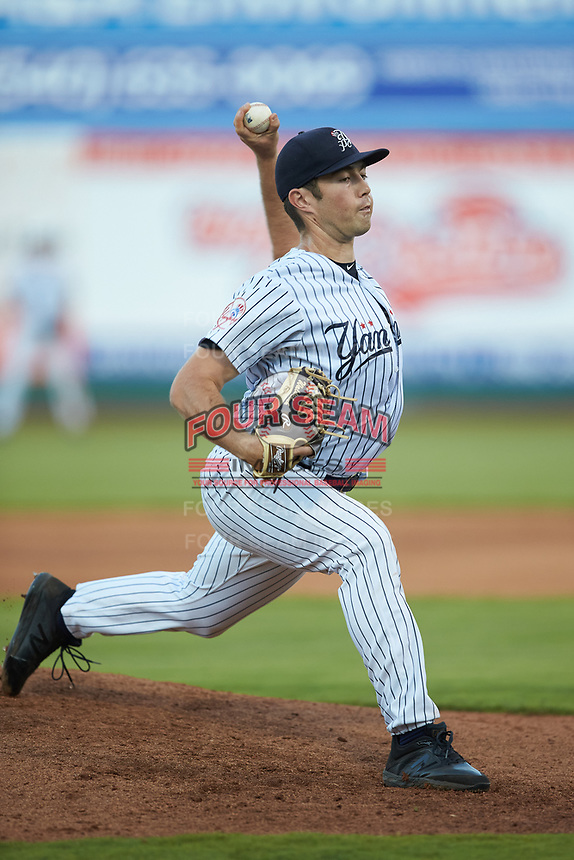 Pulaski Yankees starting pitcher Ken Waldichuk (54) in action against the Burlington Royals at Calfee Park on August 31, 2019 in Pulaski, Virginia. The Yankees defeated the Royals 6-0. (Brian Westerholt/Four Seam Images)