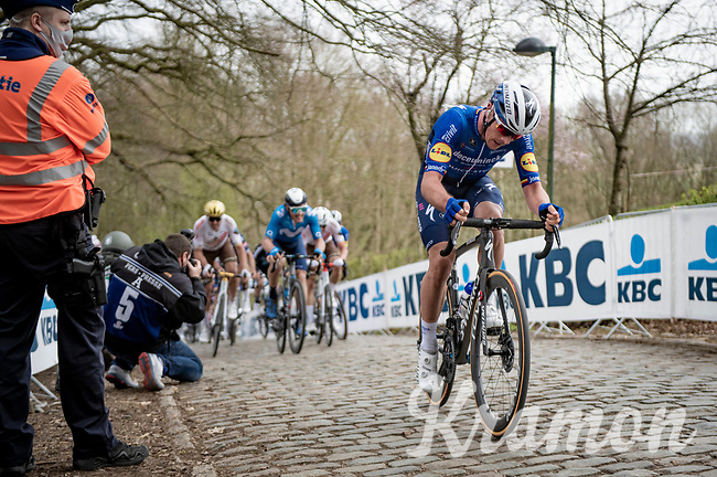 Yves Lampaert (BEL/Deceuninck - QuickStep) up the infamous Kemmelberg<br /> <br /> 83rd Gent-Wevelgem - in Flanders Fields (ME - 1.UWT)<br /> 1 day race from Ieper to Wevelgem (BEL): 254km<br /> <br /> ©kramon