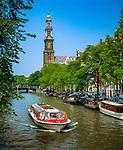 Niederlande, Nordholland, Amsterdam: Prinsengracht mit dem Turm der Westerkerk | Netherlands, North Holland, Amsterdam: Prinsengracht with Westerkerk tower