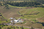 Amador County during spring from the air..Sobon Estate winery and vineyards