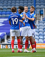 Ellis Harrison of Portsmouth middle celebrates scoring the second goal from the penalty spot during Portsmouth vs MK Dons, Sky Bet EFL League 1 Football at Fratton Park on 10th October 2020