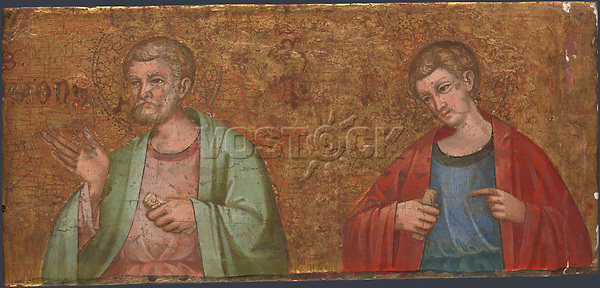 Full title: Two Apostles: Fragment of Predella<br /> Artist: Dalmatian<br /> Date made: 1375-1400<br /> Source: http://www.nationalgalleryimages.co.uk/<br /> Contact: picture.library@nationalgallery.co.uk<br /> <br /> Copyright © The National Gallery, London