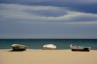 Row boats waiting to go out and fish -- Valencia, Spain<br />