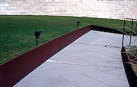 Richard Meier: The Getty Center--serpentine pathway descending to Robert Irwin's garden. Corfam Steel Margins.  Photo '99.