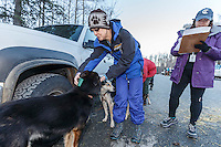 Volunteer Jann Greywolf looks for a micro-chip in a dog as Caroline Ponozzi writes down the information at the 2016 Iditarod Pre-race vet check in Wasilla, Alaska. March 02, 2016 <br /> <br /> © Jeff Schultz/SchultzPhoto.com ALL RIGHTS RESERVED<br /> DO NOT REPRODUCE WITHOUT PERMISSION