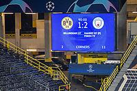 14th April 2021; Induna Park, Dortmund, Germany; UEFA Champions League Football quarter-final, Borussia Dortmund versus Manchester City;   The scoreboard shows the final score of 1-2