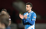 St Johnstone v Hearts…05.04.17     SPFL    McDiarmid Park<br />Goalscorer Joe Shaughnessy applauds the fans<br />Picture by Graeme Hart.<br />Copyright Perthshire Picture Agency<br />Tel: 01738 623350  Mobile: 07990 594431