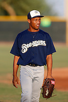 Johnny Davis #37 of the AZL Brewers before a game against the AZL Padres at the Texas Rangers Spring Training Complex on July 12, 2013 in Surprise, Arizona. AZL Brewers defeated the AZL Padres, 5-3. (Larry Goren/Four Seam Images)