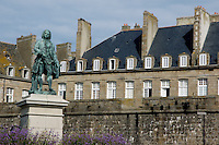 Bronze statue of the French writer François-René de Chateaubriand, Saint Malo, Brittany, France.