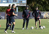 MIAMI, FL - DECEMBER 21, 2012:  Coaches Javier Perez, Brian Bliss and head coach Tab Ramos of the USA MNT U20 during a closed scrimmage with the Venezuela U20 team, on Friday, December 21, 2012, At the FIU soccer field in Miami.  USA won 4-0.