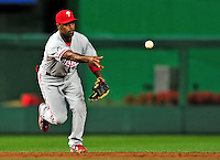 28 September 2010: Philadelphia Phillies' infielder Jimmy Rollins in action against the Washington Nationals at Nationals Park in Washington, DC. The Nationals defeated the Phillies 2-1 on an Adam Dunn walk-off solo homer in the 9th inning to even up their 3-game series one game apiece. Mandatory Credit: Ed Wolfstein Photo