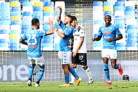 Matteo Politano of SSC Napoli celebrates with team mates after scoring a goal<br /> during the Serie A football match between SSC Napoli and Atalanta BC at stadio San Paolo in Napoli (Italy), October 17th, 2020. <br /> Photo Cesare Purini / Insidefoto