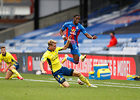 5th September 2020; Selhurst Park, London, England; Pre Season Friendly Football, Crystal Palace versus Brondby; Wilfried Zaha of Crystal Palace leaps over Sigurd Rosted of Brondby