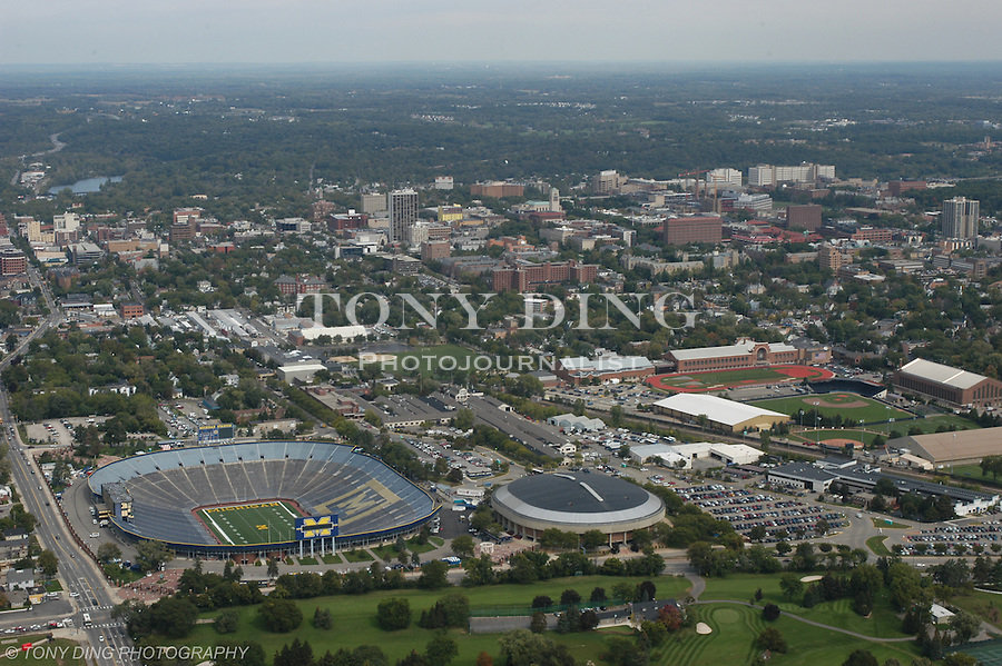 University of Michigan campus seen from the south. Aerial photos taken from the Goodyear Blimp over Ann Arbor, Mich. on Friday, September 26, 2003. (TONY DING/Daily)